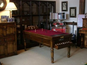 Jelks Oak Bar Billiard Table Burgundy Cloth