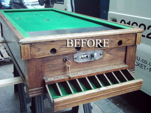 Oak Snookerette Bar Billiard Table BEFORE RESTORATION