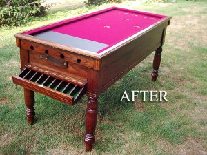 Oak Snookerette Bar Billiard Table AFTER RESTORATION