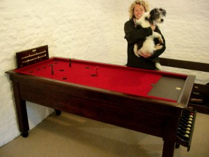 "Kate Humble and ""Badger"" Dark SAMS table"