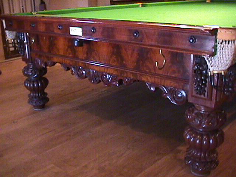 Heavily Carved George Wright Snooker Table