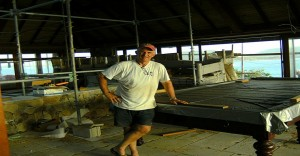 Mr Peter Ludgate of hubblesports.co.uk installing Sir Richard Branson's new snooker table at Necker Island 2013 after the great fire in 2011