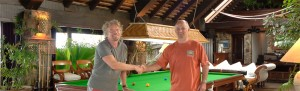 Sir Richard Branson and Peter Ludgate of Hubble Sports - supplying snooker and billiard tables since 1910