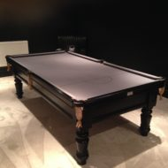 Ebonised Wood Silver Cloth Snooker Table
