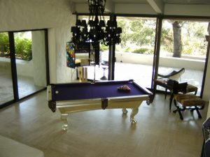 White Gold Bespoke Pool Table with a Purple Cloth
