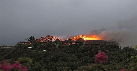 Necker Island during the great fire of 2011
